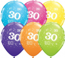 30th Birthday - 11 Inch Balloons 6pcs